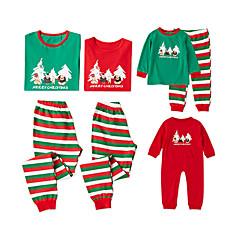 billige Sett med familieklær-3 deler Familie Look Grunnleggende Jul / Daglig Bokstaver Langermet Normal Polyester Tøysett Grønn