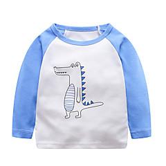 baratos Roupas de Meninos-Infantil / Bébé Para Meninos Activo / Básico Diário / Para Noite Estampado Estampado Manga Longa Padrão Algodão Camiseta Azul Claro