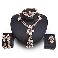 baratos Conjuntos de Bijuteria-Mulheres Conjunto de jóias - Flor Estiloso, Clássico Incluir Brincos Compridos Colar Pulseira Dourado Para Festa / Anel