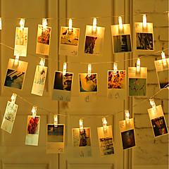 billiga Dekorativ belysning-zdm 2m 20 st led fotoskrivlampor 20 fotoklipp batteridriven eller usb interface fairy twinkle lightshanging foton kort och konstverk varmvit