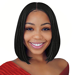 cheap -Synthetic Wig / Synthetic Lace Front Wig Women's Straight Black Middle Part Synthetic Hair 14 inch Soft / Best Quality / Middle Part Bob Black Wig Short Lace Front Natural Black Dark Brown / Yes