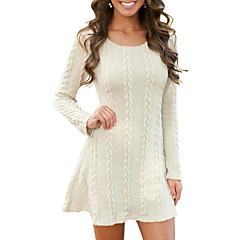 preiswerte Neu Eingetroffen-Damen Grundlegend Strickware Kleid Solide Mini Weiß
