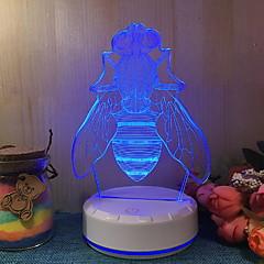 baratos Iluminação Decorativa-1pç Luz noturna 3D Branco Quente USB Com porta USB <=36 V