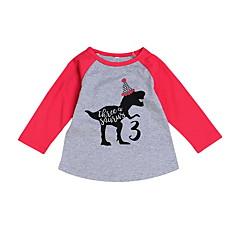 billige Babyoverdele-Baby Pige Basale Ensfarvet Langærmet Polyester T-shirt Rød