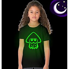 baratos Roupas de Meninas-Infantil Para Meninas Básico Sólido Manga Curta Padrão Poliéster Camiseta Preto 110