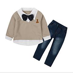 billige Tøjsæt til drenge-Børn Drenge Aktiv / Gade Daglig / I-byen-tøj Patchwork Patchwork Langærmet Normal Rayon Tøjsæt Beige