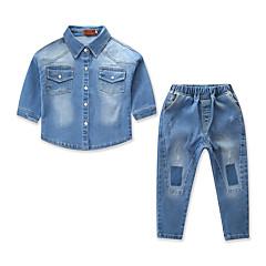preiswerte Mode für Jungen-Kinder / Baby Jungen Aktiv / Grundlegend Alltag / Festtage Solide Langarm Standard Baumwolle / Elasthan Kleidungs Set Blau