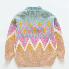 billige Sweaters og cardigans til piger-Børn Pige Basale / Gade Daglig Stribet / Geometrisk Trykt mønster Langærmet Rayon / Nylon Trøje og cardigan Blå