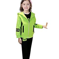 billige Tøjsæt til piger-Børn Pige Aktiv Ensfarvet Langærmet Akryl / Polyester Tøjsæt Grøn 140