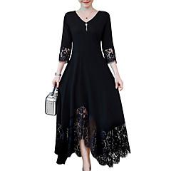 olcso Újdonságok-Női Extra méret A-vonalú Ruha - Csipke Trim, Egyszínű Maxi V-alakú Fekete