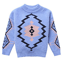 billige Sweaters og cardigans til piger-Børn Pige Basale / Gade Daglig Geometrisk / Trykt mønster Trykt mønster Langærmet Rayon Trøje og cardigan Blå