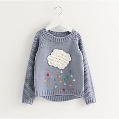 billige Sweaters og cardigans til piger-Børn Pige Gade Jacquard Vævning Langærmet Normal Polyester Trøje og cardigan Rød