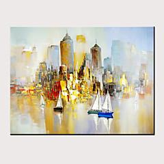 billiga Oljemålningar-Hang målad oljemålning HANDMÅLAD - Abstrakt Landskap Moderna Utan innerram