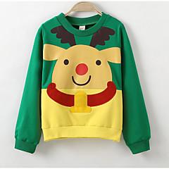 billige Hættetrøjer og sweatshirts til drenge-Børn Drenge Aktiv Daglig Ensfarvet / Geometrisk Langærmet Normal Polyester Hættetrøje og sweatshirt Grøn