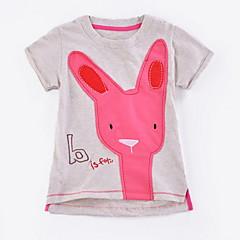 billige Pigetoppe-Baby Pige Basale Ensfarvet Kortærmet Polyester T-shirt Grå