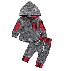 ieftine Seturi Îmbrăcăminte Băieți-Copil Băieți Activ Zilnic Mată / Geometric Manșon Lung Regular Regular Poliester Set Îmbrăcăminte Gri