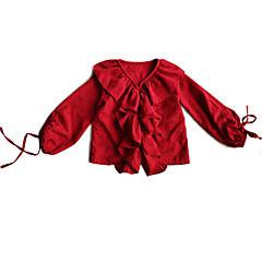 billige Babyoverdele-Baby Pige Vintage Ensfarvet Langærmet Akryl / Polyester Skjorte Rød 140