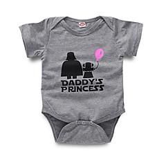 billige Babytøj-Baby Pige Gade Daglig Trykt mønster Kort Ærme Polyester Bodysuit Grå