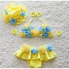 billige Badetøj til piger-Børn Pige Daglig Ensfarvet Uden ærmer Bomuld / Polyester Badetøj Lyserød