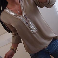 olcso Újdonságok-Alap V-alakú Női Extra méret Blúz - Mértani, Flitter / Laza öltözet / Tavasz / Nyár / Ősz