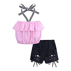 billige Tøjsæt til piger-Børn / Baby Pige Gade Daglig / I-byen-tøj Ensfarvet Uden ærmer Bomuld / Polyester Tøjsæt Lyserød