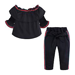 billige Tøjsæt til piger-Børn / Baby Pige Gade Daglig / I-byen-tøj Ensfarvet Uden ærmer Bomuld / Polyester Tøjsæt Sort