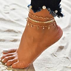 billige Kropssmykker-Dame Multi Layer fotlenke - Gullbelagt Tropisk Smykker Gull Til Bryllup Engasjement Gate Bikini Festival / 3pcs