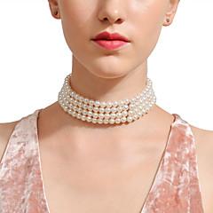 女性用 サファイア パールネックレス 人造真珠 ステートメント シルバー 28 cm ネックレス ジュエリー 1個 用途 結婚式 誕生日 パーティー 祝日 バー