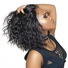 cheap Human Hair Wigs-Short Human Hair Wigs For Women Brazilian Wavy Bob Lace Front Wigs Pre Plucked With Baby Hair Curly Dolago Remy Black 130% Full