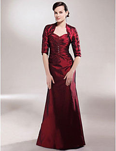 cheap Mother of the Bride Dresses-A-Line Spaghetti Straps Sweetheart Floor Length Taffeta Mother of the Bride Dress with Beading Ruched Side Draping by LAN TING BRIDE®