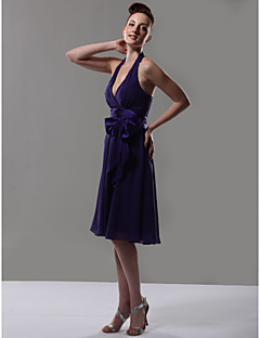 cheap Purple Passion-A-Line V Neck Halter Knee Length Chiffon Bridesmaid Dress with Bow(s) Sash / Ribbon by LAN TING BRIDE®