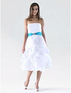 cheap Bridesmaid Dresses-A-Line / Princess Strapless Knee Length Taffeta Bridesmaid Dress with Pick Up Skirt / Sash / Ribbon / Crystal Brooch by LAN TING BRIDE® / Color Block