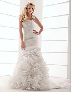 tanie Prawdziwy wdzięk-Obcisła i rozszerzona Na jedno ramię Tren w stylu sądowym Tafta Suknie ślubne wykonane na miarę z Kwiat / Falbana kaskadowa przez LAN TING BRIDE®
