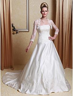 billige Brudekjoler UK-A-linje Prinsesse Kamskjell Hoffslep Sateng Bryllupskjole med Perlearbeid Appliqué av LAN TING BRIDE®