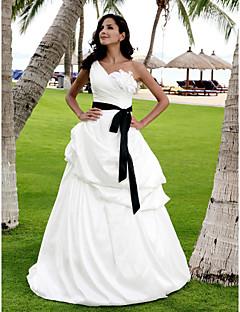 billiga A-linjeformade brudklänningar-A-linje / Prinsessa Enaxlad Golvlång Satäng / Taft Bröllopsklänningar tillverkade med Pickup-kjol / Bälte / band / Blomma av LAN TING BRIDE® / Brudklänning i färg