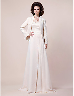 cheap Mother of the Bride Dresses-A-Line V-neck Sweep / Brush Train Chiffon Satin Mother of the Bride Dress with Beading Draping Side Draping by LAN TING BRIDE®