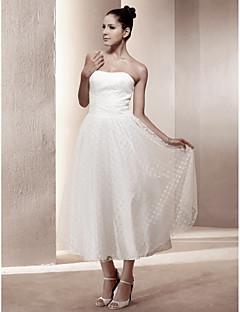 billiga Brudklänningar-A-linje / Prinsessa Axelbandslös Telång Spets / Satäng Bröllopsklänningar tillverkade med Draperad av LAN TING BRIDE®