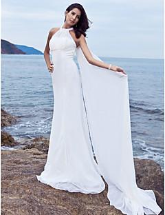billiga Åtsmitande brudklänningar-Åtsmitande Halterneck Svepsläp Chiffong Bröllopsklänningar tillverkade med Draperad av LAN TING BRIDE®
