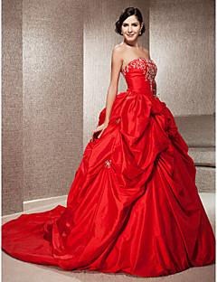 billiga Balbrudklänningar-Balklänning Axelbandslös Kapellsläp Taft Bröllopsklänningar tillverkade med Bård / Broderad / Pickup-kjol av LAN TING BRIDE® / Brudklänning i färg