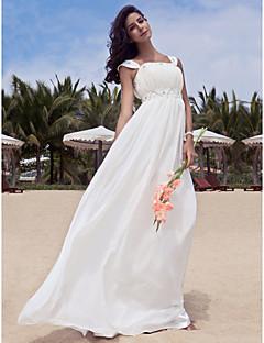 billiga Imperiumbrudklänningar-A-linje Fyrkantig hals Golvlång Chiffong Bröllopsklänningar tillverkade med Bård / Draperad av LAN TING BRIDE®