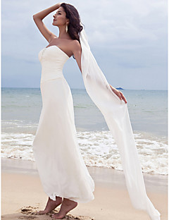 cheap Beach & Honeymoon Dresses-Sheath / Column Sweetheart Ankle Length Chiffon Custom Wedding Dresses with Beading Ruched by LAN TING BRIDE®