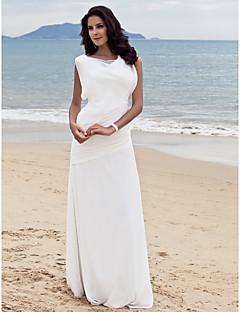 billiga Åtsmitande brudklänningar-Åtsmitande Bateau Neck Golvlång Chiffong Bröllopsklänningar tillverkade med Sidodraperad av LAN TING BRIDE®