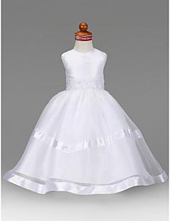 tanie Wytworna kolekcja-Krój A Księżniczka Sięgająca podłoża Sukienka dla dziewczynki z kwiatami - Organza Tafta Bez rękawów Zaokrąglony z Koraliki Haft