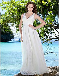 billiga Brudklänningar-Åtsmitande V-hals Golvlång Spets / Satäng Bröllopsklänningar tillverkade med Bård / Sidodraperad av LAN TING BRIDE®