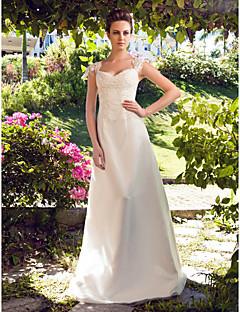 billiga Prinsessbrudklänningar-A-linje Hjärtformad urringning Golvlång Satäng / Tyll Bröllopsklänningar tillverkade med Bård / Applikationsbroderi av LAN TING BRIDE®