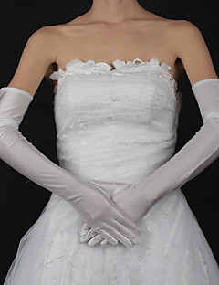 cheap Top Sellers-Satin Cotton Wrist Length Opera Length Glove Charm Stylish Bridal Gloves With Embroidery Solid