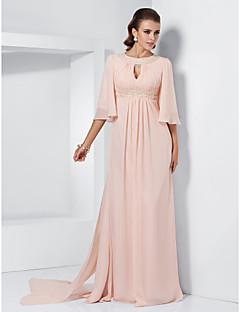 Α-γραμμή κόσμημα λαιμού σκούπα / βούρτσα τρένο σιφόν φόρεμα χορό με beading από ts couture®