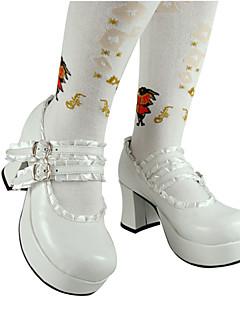 billiga Lolitamode-Skor Klassisk Lolita Lolita Högklackat Skor Enfärgad 7.5 cm CM Vit / Svart / Rosa Till PU-läder / Polyuretan Läder Polyuretan Läder Halloweenkostymer