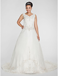 cheap Wedding Dresses UK-A-Line Princess V Neck Chapel Train Organza Beaded Lace Custom Wedding Dresses with Beading Embroidery by LAN TING BRIDE®