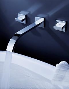 Moderní Nástěnná montáž Vodopád Keramický ventil Se třemi otvory Dvěma uchy tři otvory Pochromovaný , Koupelna Umyvadlová baterie